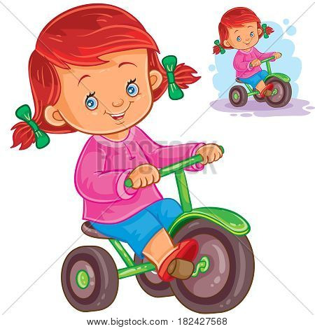 Vector illustration of small girl riding a tricycle. Print