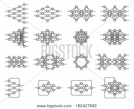 Set of different neural nets. Neuron network. Deep learning. Cognitive technology concept. Vector illustration