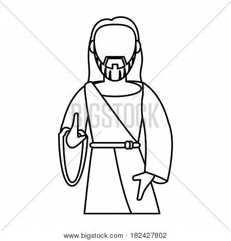 jesus christ catholic symbol outline vector illustration eps 10