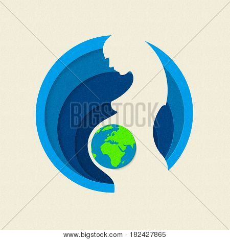 Earth Day Paper Cut Out Mother Nature Concept