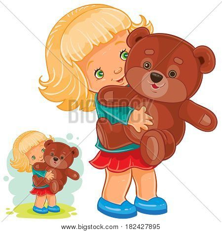 Vector illustration of small girl playing with Teddy bear. Print
