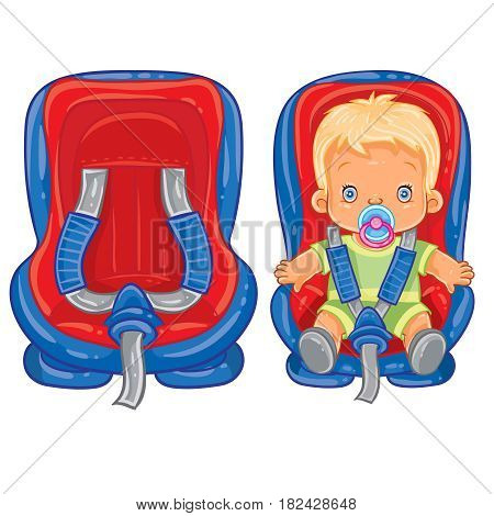 Vector illustration of small child in car seat