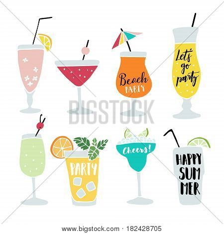 Set of hand drawn alcoholic drinks, cocktails with lettering quotes. Summer holiday and beach party concept, isolated vector icons.