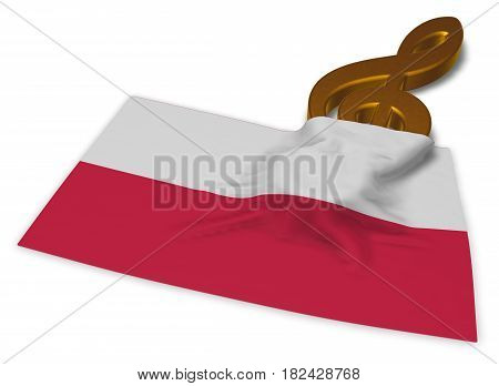 clef symbol and polish flag - 3d rendering