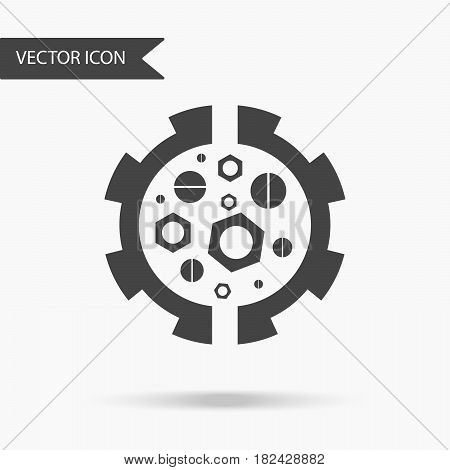 Vector Business Icon Gears Nuts And Bolts. Icon For For Annual Reports, Charts, Presentations, Workf