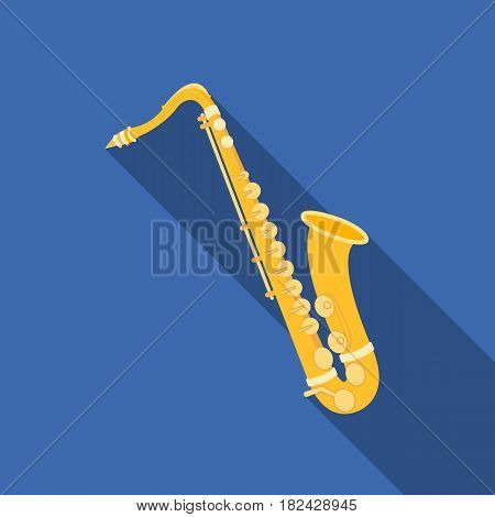 Saxophone icon in flat style isolated on white background. Musical instruments symbol vector illustration