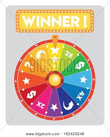 multicolored Lucky wheel flat illustration vector text is outline