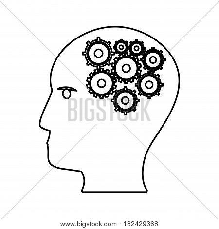 human head gears work outline vector illustration eps 10
