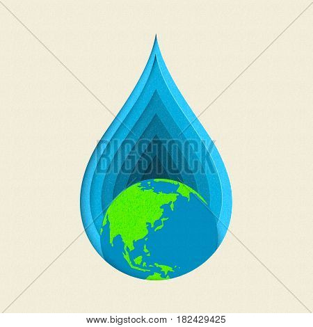 Earth Day Paper Cut Water Drop Concept Art