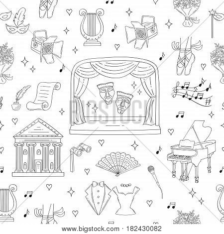 Vector seamless background with theater symbols, theatrical stage, comedy and tragedy masks, curtains, theater building, lyre, grand piano, spotlight, tuxedo, evening dress, hand drawn doodle