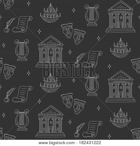 Theater vector seamless background with theater building, tragedy and comedy masks, chandelier and lyre, hand drawn, sketch style.