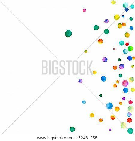 Sparse Watercolor Confetti On White Background. Rainbow Colored Watercolor Confetti Scatter Left Gra