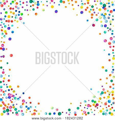 Dense Watercolor Confetti On White Background. Rainbow Colored Watercolor Confetti Corner Frame. Col