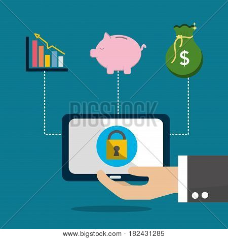computer security save money and inversion, vector illustration