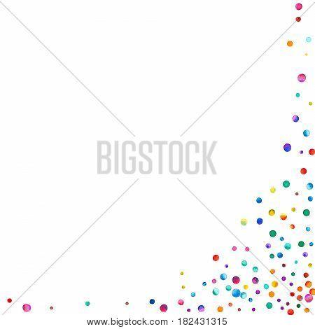Dense Watercolor Confetti On White Background. Rainbow Colored Watercolor Confetti Abstract Right Bo