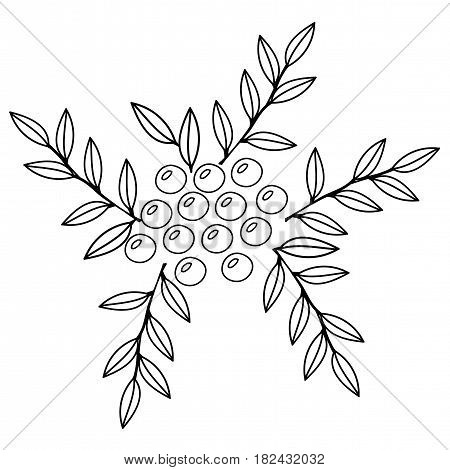 Black line rowan with leaf isolated on the white background. Berry with leaf for print coloring book and page.