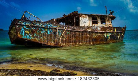 Old oxid boat in San Andres Colombia