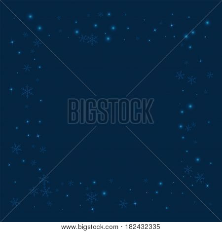 Sparse Glowing Snow. Square Messy Frame With Sparse Glowing Snow On Deep Blue Background. Vector Ill