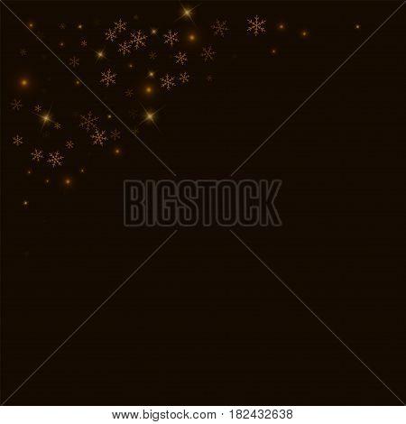 Sparse Starry Snow. Top Left Corner On Black Background. Vector Illustration.