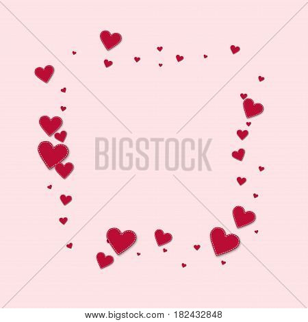 Red Stitched Paper Hearts. Square Abstract Mess On Light Pink Background. Vector Illustration.