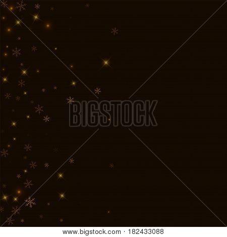 Sparse Starry Snow. Scatter Left Gradient On Black Background. Vector Illustration.