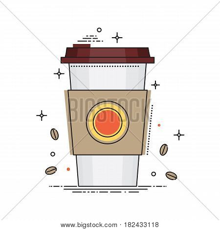 Disposable coffee cup icon with coffee beans, conceptual vector illustration in flat line design. Paper coffee cup isolated on white background