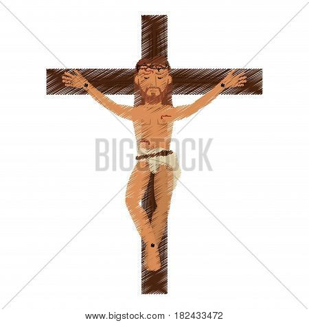 drawing jesus christ crucified image vector illustration eps 10