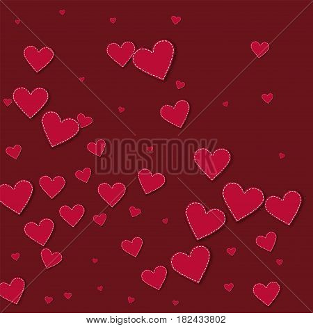 Red Stitched Paper Hearts. Abstract Mess On Wine Red Background. Vector Illustration.