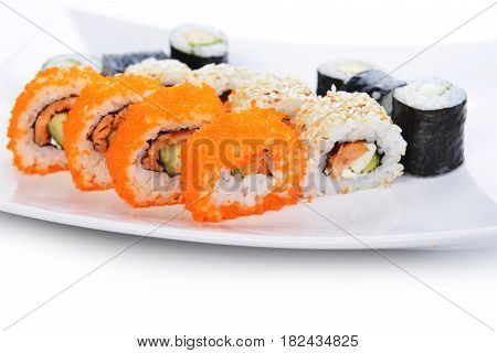 fresh and tasty traditional Japanese sushi on plate