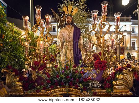 Badajoz Spain monday. april .10. 2017 Procession of the Fraternity and Brotherhood of Our Father Jesus of Humility Our Father Jesus of the Arrest and Most Holy of Sorrows.