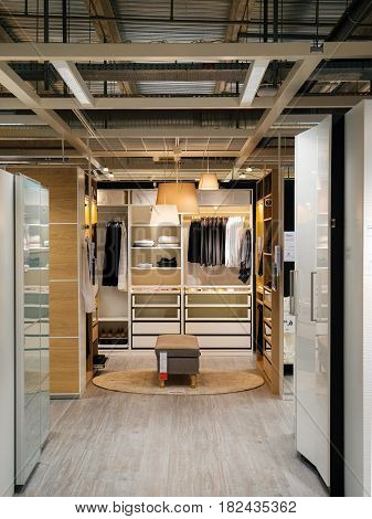 PARIS FRANCE - APR 10 2017: wardrobe cabinet clothes choosing furniture in IKEA Shopping furniture store in Paris France. Being founded in Sweden in 1943 IKEA is the world's largest furniture retailer.
