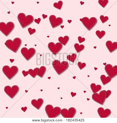 Red Stitched Paper Hearts. Chaotic Scatter Lines With Red Stitched Paper Hearts On Light Pink Backgr