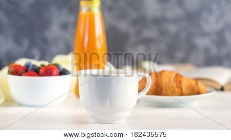 Morning Coffee Mug With Croissant, Juice And Fresh Berries, Cozy And Tasty Breakfast. Selective Focu