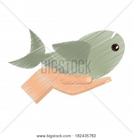 drawing hand with fish miracle vector illustration eps 10