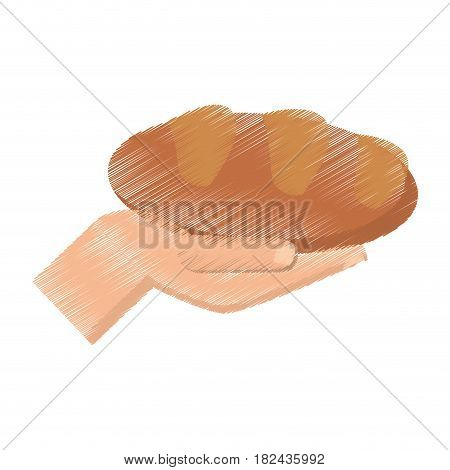 drawing hand holding bread miracle vector illustration eps 10