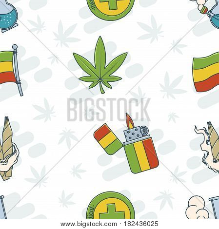Seamless texture of rastaman attributes. On a light background. Can be used for printing, textile and background for websites