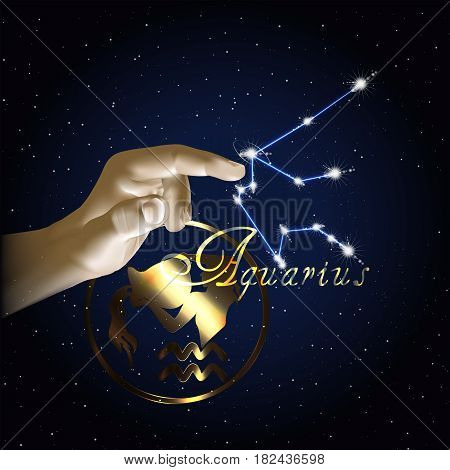 Constellation of the sign of the zodiac against the background of the starry sky and finger of the hand.
