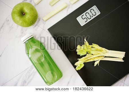 Weight Scale And Healthy Food