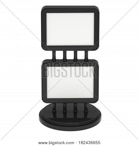 LCD Screen Double Stand. Black Trade Show Booth. 3d render of lcd screen isolated on white background. High Resolution. Ad template for your expo design.
