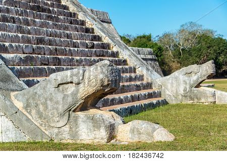 Chichen Itza Snake Heads