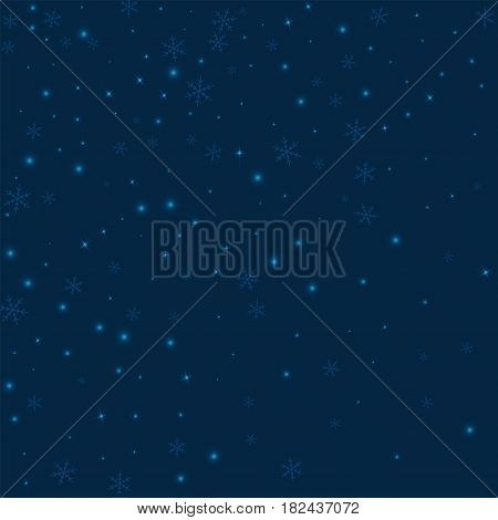 Sparse Glowing Snow. Abstract Scatter On Deep Blue Background. Vector Illustration.