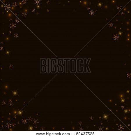 Sparse Starry Snow. Corner Frame On Black Background. Vector Illustration.