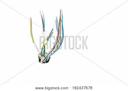 Isolated cable and wires coming out of the wall