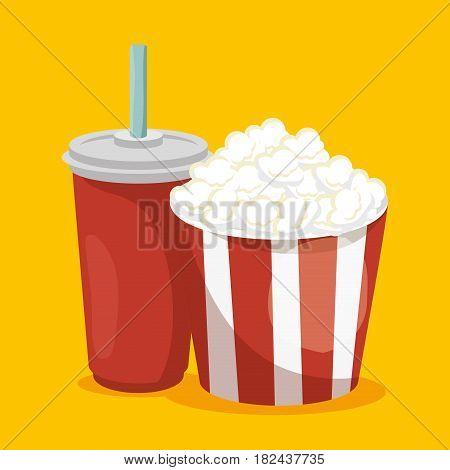 pop corn with soda isolated icon vector illustration design