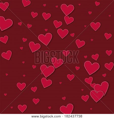 Red Stitched Paper Hearts. Scatter Vertical Lines With Red Stitched Paper Hearts On Wine Red Backgro