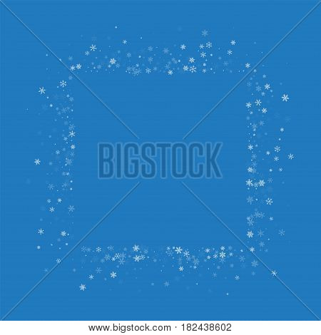 Beautiful Snowfall. Square Abstract Mess On Blue Background. Vector Illustration.