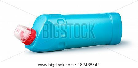 Disinfectant in a plastic bottle horizontally rotated isolated on white background