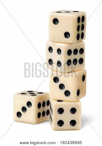 Stack of gaming dice isolated on white background