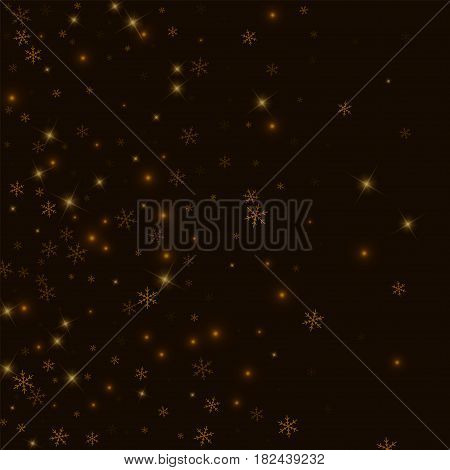 Sparse Starry Snow. Left Gradient On Black Background. Vector Illustration.