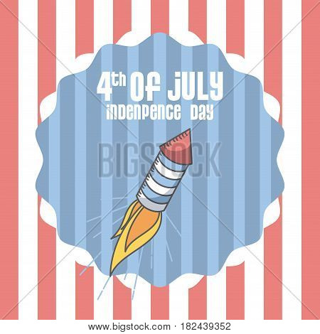 seal stamp with rocket firework icon. usa indepence day concept. colorful design. vector illustration